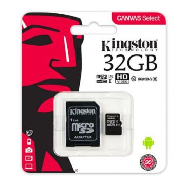 Kingston 32GB Canvas Select Micro SD Card with SD Adapter
